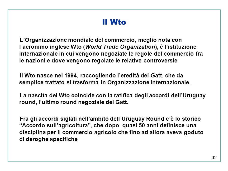 32 Il Wto LOrganizzazione mondiale del commercio, meglio nota con lacronimo inglese Wto (World Trade Organization), è listituzione internazionale in cui vengono negoziate le regole del commercio fra le nazioni e dove vengono regolate le relative controversie Il Wto nasce nel 1994, raccogliendo leredità del Gatt, che da semplice trattato si trasforma in Organizzazione internazionale.