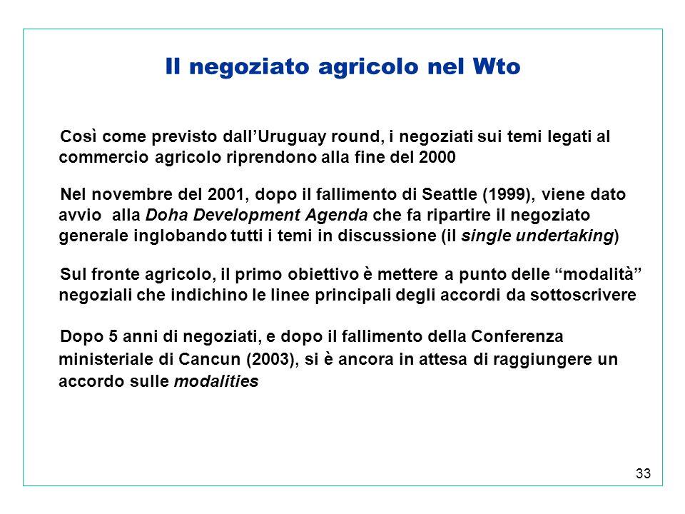 33 Il negoziato agricolo nel Wto Così come previsto dallUruguay round, i negoziati sui temi legati al commercio agricolo riprendono alla fine del 2000 Nel novembre del 2001, dopo il fallimento di Seattle (1999), viene dato avvio alla Doha Development Agenda che fa ripartire il negoziato generale inglobando tutti i temi in discussione (il single undertaking) Sul fronte agricolo, il primo obiettivo è mettere a punto delle modalità negoziali che indichino le linee principali degli accordi da sottoscrivere Dopo 5 anni di negoziati, e dopo il fallimento della Conferenza ministeriale di Cancun (2003), si è ancora in attesa di raggiungere un accordo sulle modalities