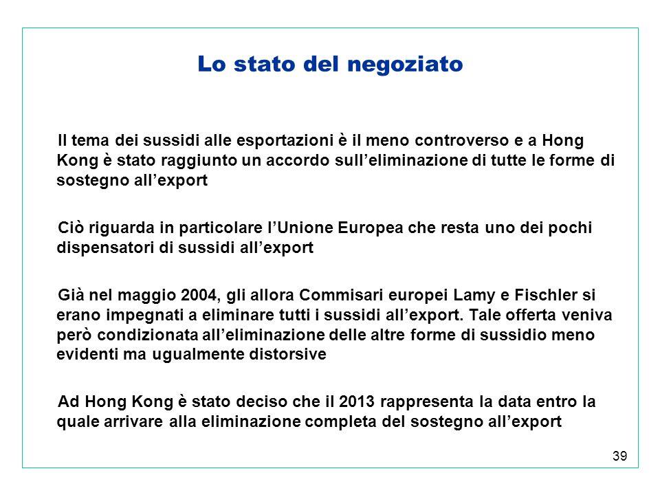 39 Lo stato del negoziato Il tema dei sussidi alle esportazioni è il meno controverso e a Hong Kong è stato raggiunto un accordo sulleliminazione di tutte le forme di sostegno allexport Ciò riguarda in particolare lUnione Europea che resta uno dei pochi dispensatori di sussidi allexport Già nel maggio 2004, gli allora Commisari europei Lamy e Fischler si erano impegnati a eliminare tutti i sussidi allexport.