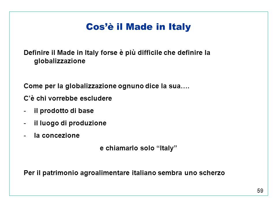 59 Cosè il Made in Italy Definire il Made in Italy forse è più difficile che definire la globalizzazione Come per la globalizzazione ognuno dice la sua….