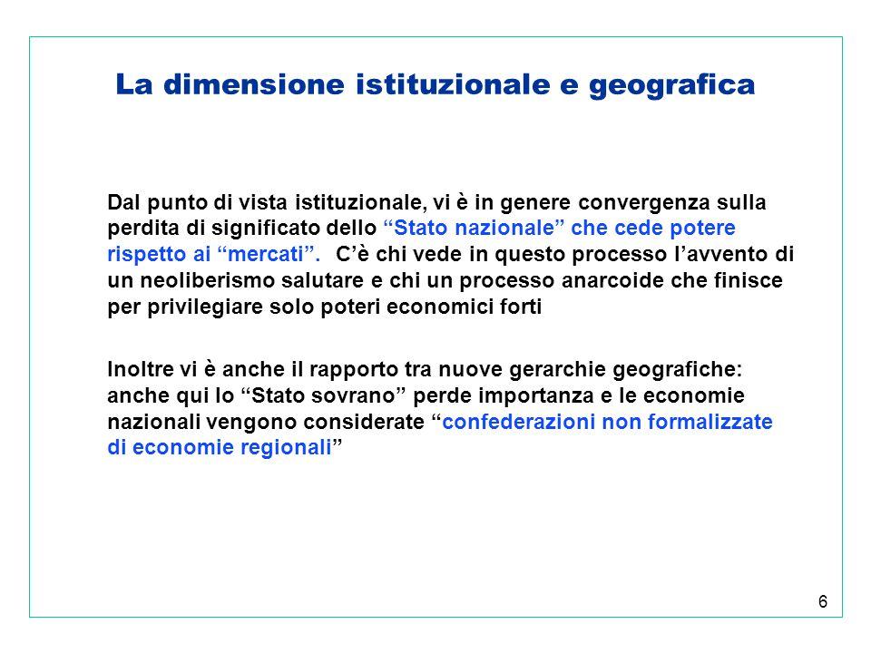 6 La dimensione istituzionale e geografica Dal punto di vista istituzionale, vi è in genere convergenza sulla perdita di significato dello Stato nazionale che cede potere rispetto ai mercati.