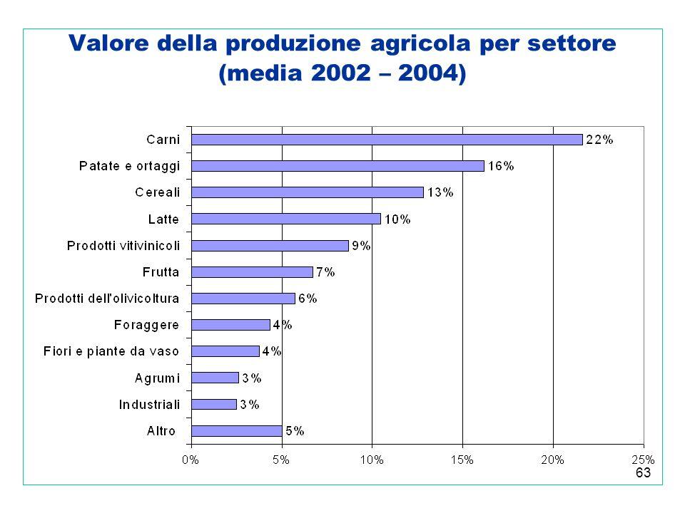 63 Valore della produzione agricola per settore (media 2002 – 2004)