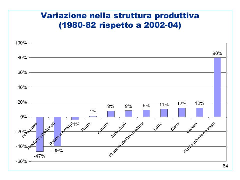 64 Variazione nella struttura produttiva (1980-82 rispetto a 2002-04)