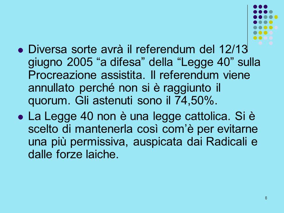8 Diversa sorte avrà il referendum del 12/13 giugno 2005 a difesa della Legge 40 sulla Procreazione assistita. Il referendum viene annullato perché no