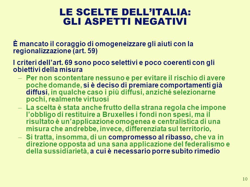 10 LE SCELTE DELLITALIA: GLI ASPETTI NEGATIVI È mancato il coraggio di omogeneizzare gli aiuti con la regionalizzazione (art. 59) I criteri dellart. 6