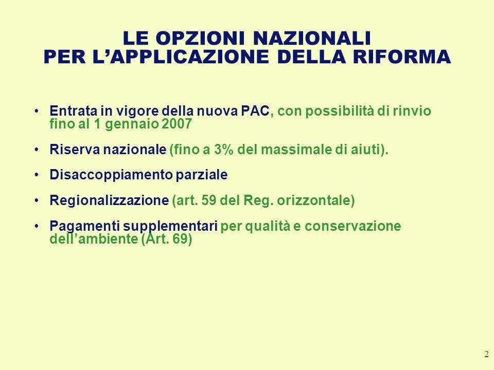 2 LE OPZIONI NAZIONALI PER LAPPLICAZIONE DELLA RIFORMA Entrata in vigore della nuova PAC, con possibilità di rinvio fino al 1 gennaio 2007 Riserva naz