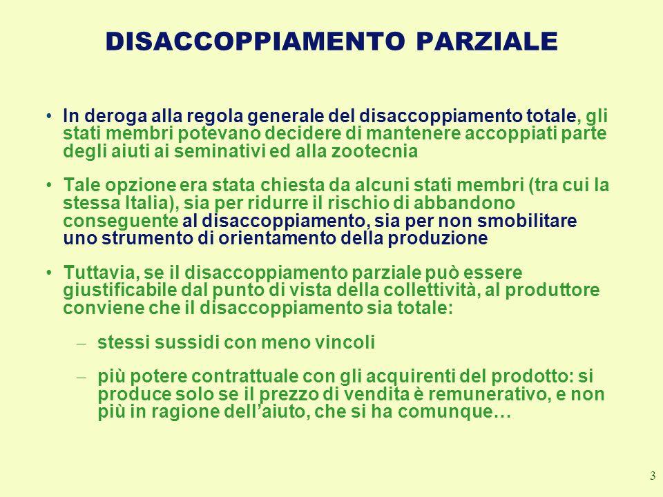 3 DISACCOPPIAMENTO PARZIALE In deroga alla regola generale del disaccoppiamento totale, gli stati membri potevano decidere di mantenere accoppiati par