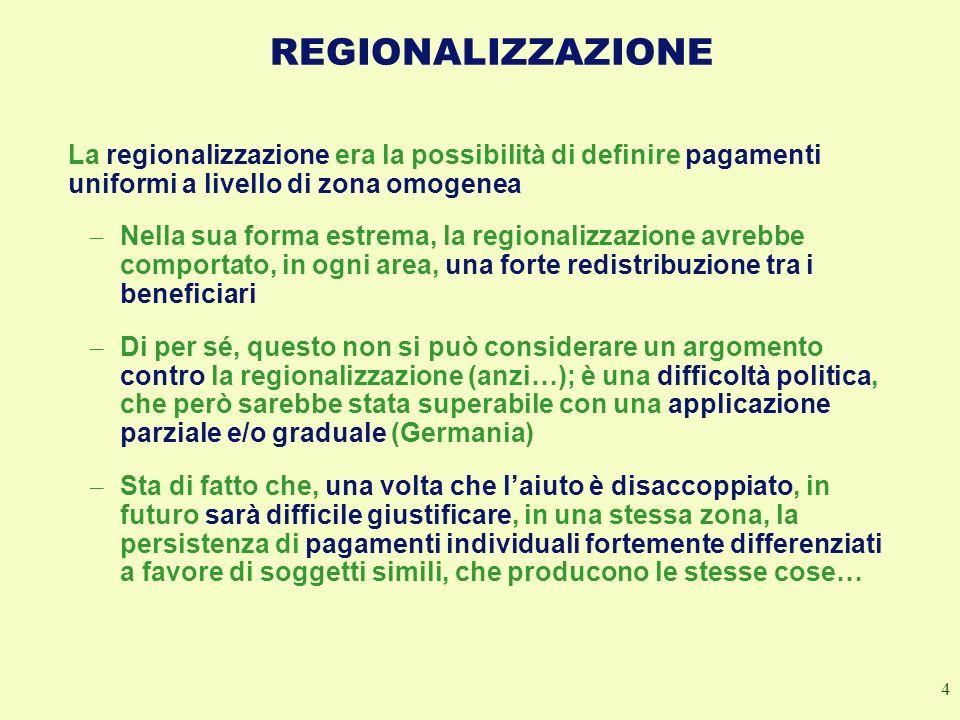 4 REGIONALIZZAZIONE La regionalizzazione era la possibilità di definire pagamenti uniformi a livello di zona omogenea – Nella sua forma estrema, la re