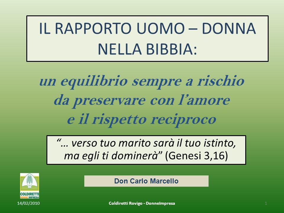 … verso tuo marito sarà il tuo istinto, ma egli ti dominerà (Genesi 3,16) IL RAPPORTO UOMO – DONNA NELLA BIBBIA: 14/02/20101Coldiretti Rovigo - DonneImpresa Don Carlo Marcello