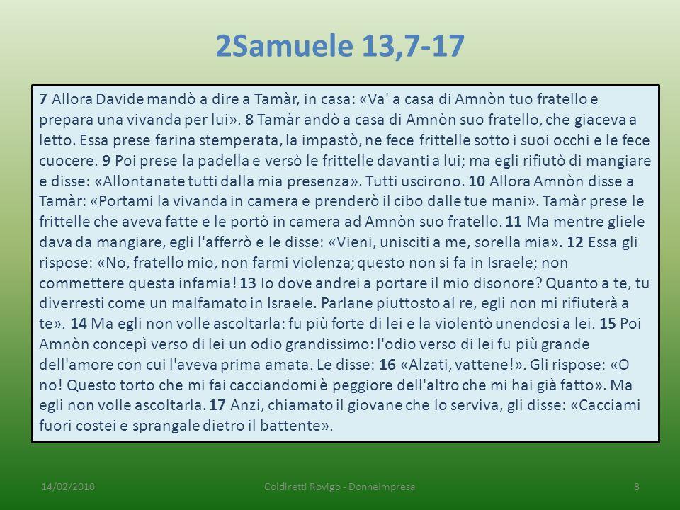 2Samuele 13,7-17 7 Allora Davide mandò a dire a Tamàr, in casa: «Va a casa di Amnòn tuo fratello e prepara una vivanda per lui».