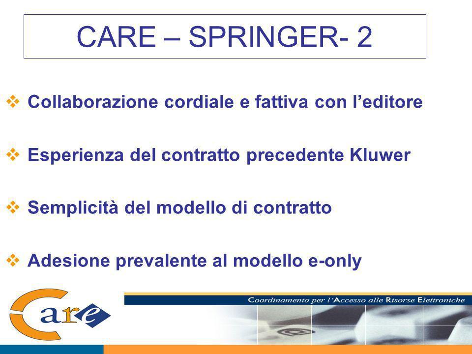 CARE – SPRINGER- 2 Collaborazione cordiale e fattiva con leditore Esperienza del contratto precedente Kluwer Semplicità del modello di contratto Adesione prevalente al modello e-only