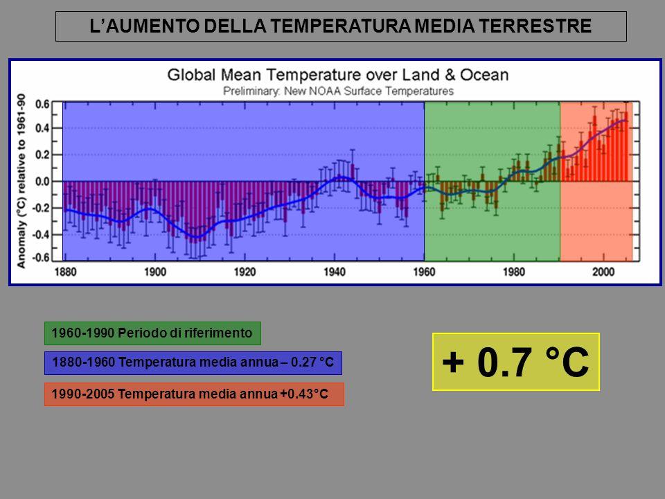 1990-2005 Temperatura media annua +0.43°C 1960-1990 Periodo di riferimento 1880-1960 Temperatura media annua – 0.27 °C + 0.7 °C LAUMENTO DELLA TEMPERATURA MEDIA TERRESTRE
