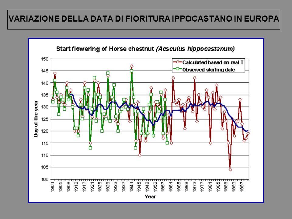 VARIAZIONE DELLA DATA DI FIORITURA IPPOCASTANO IN EUROPA