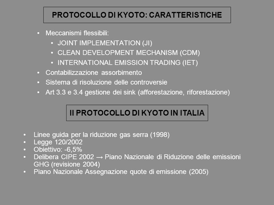 PROTOCOLLO DI KYOTO: CARATTERISTICHE Meccanismi flessibili: JOINT IMPLEMENTATION (JI) CLEAN DEVELOPMENT MECHANISM (CDM) INTERNATIONAL EMISSION TRADING (IET) Contabilizzazione assorbimento Sistema di risoluzione delle controversie Art 3.3 e 3.4 gestione dei sink (afforestazione, riforestazione) Il PROTOCOLLO DI KYOTO IN ITALIA Linee guida per la riduzione gas serra (1998) Legge 120/2002 Obiettivo: -6,5% Delibera CIPE 2002 Piano Nazionale di Riduzione delle emissioni GHG (revisione 2004) Piano Nazionale Assegnazione quote di emissione (2005)