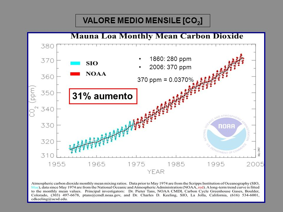 31% aumento 370 ppm = % 1860: 280 ppm 2006: 370 ppm VALORE MEDIO MENSILE [CO 2 ]