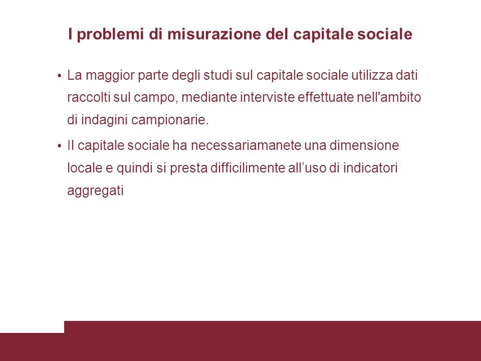 I problemi di misurazione del capitale sociale La maggior parte degli studi sul capitale sociale utilizza dati raccolti sul campo, mediante interviste effettuate nell ambito di indagini campionarie.