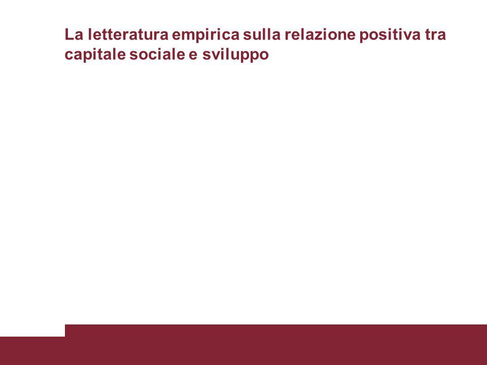 La letteratura empirica sulla relazione positiva tra capitale sociale e sviluppo