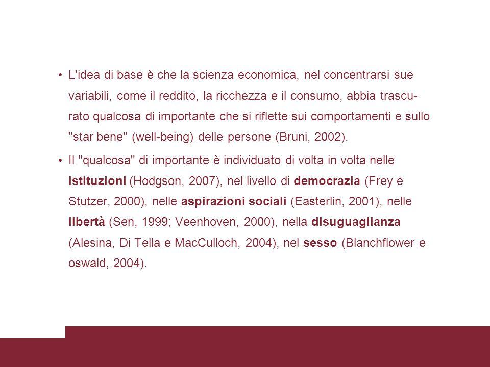 L idea di base è che la scienza economica, nel concentrarsi sue variabili, come il reddito, la ricchezza e il consumo, abbia trascu- rato qualcosa di importante che si riflette sui comportamenti e sullo star bene (well-being) delle persone (Bruni, 2002).