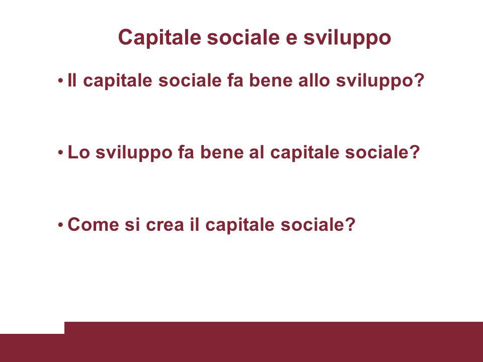 Capitale sociale e sviluppo Il capitale sociale fa bene allo sviluppo.
