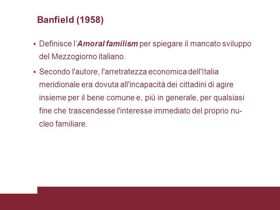 Banfield (1958) Definisce lAmoral familism per spiegare il mancato sviluppo del Mezzogiorno italiano.