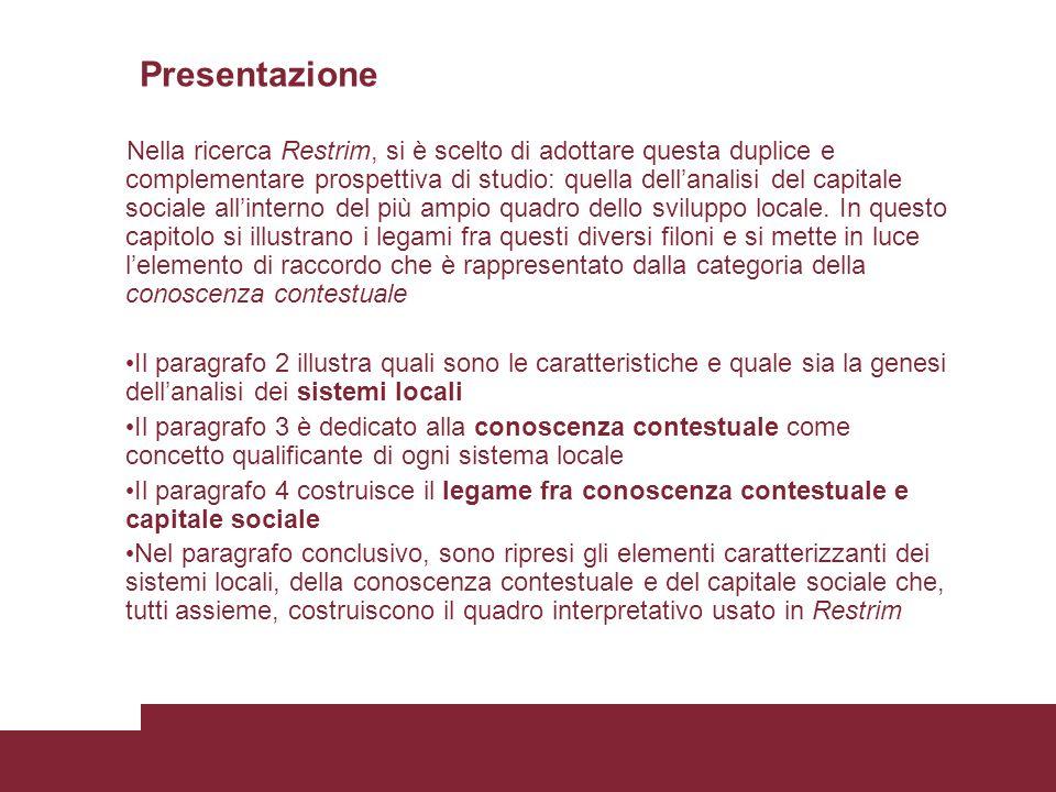 Presentazione Nella ricerca Restrim, si è scelto di adottare questa duplice e complementare prospettiva di studio: quella dellanalisi del capitale sociale allinterno del più ampio quadro dello sviluppo locale.