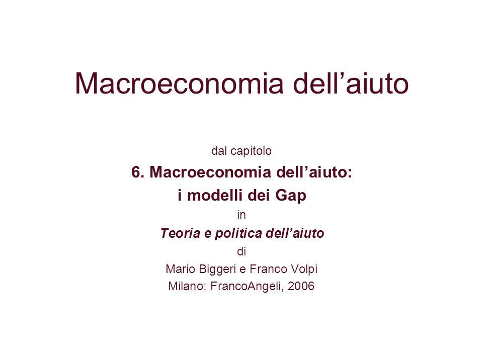 Gli obiettivi dellaiuto e i vincoli allo sviluppo La macroeconomia dellaiuto fa riferimento al livello del Prodotto nazionale lordo (PIL) e al suo tasso di crescita Laiuto raggiunge lobiettivo quando determina un aumento del tasso di crescita Il riferimento è al tasso di crescita del PIL pro capite