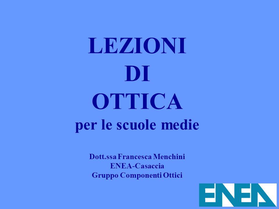 LEZIONI DI OTTICA per le scuole medie Dott.ssa Francesca Menchini ENEA-Casaccia Gruppo Componenti Ottici