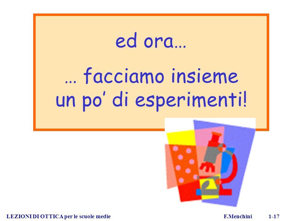 LEZIONI DI OTTICA per le scuole medie F.Menchini 1-17 ed ora… … facciamo insieme un po di esperimenti!