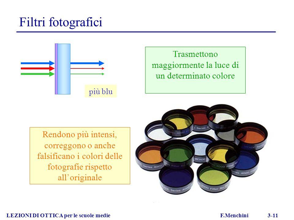 Filtri fotografici LEZIONI DI OTTICA per le scuole medie F.Menchini 3-11 Trasmettono maggiormente la luce di un determinato colore più blu Rendono più