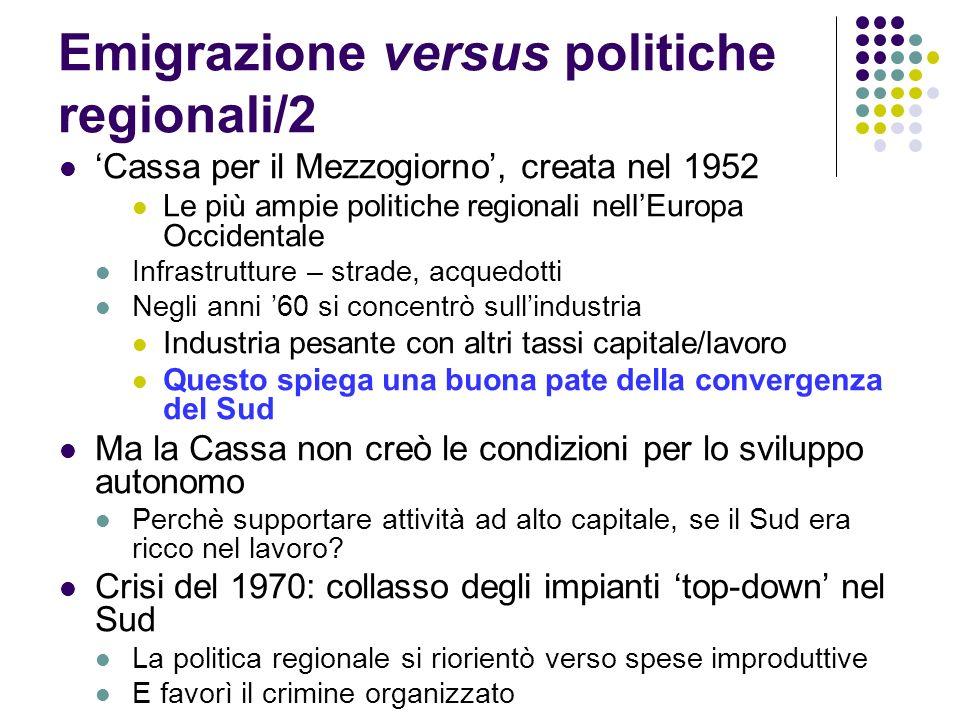 Emigrazione versus politiche regionali/2 Cassa per il Mezzogiorno, creata nel 1952 Le più ampie politiche regionali nellEuropa Occidentale Infrastrutt