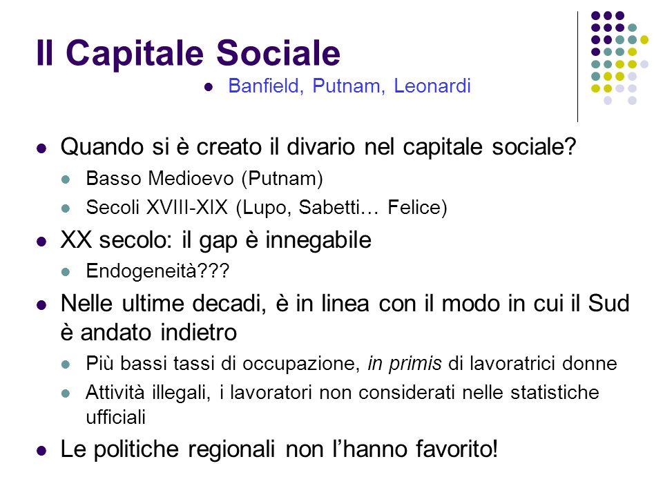 Il Capitale Sociale Banfield, Putnam, Leonardi Quando si è creato il divario nel capitale sociale? Basso Medioevo (Putnam) Secoli XVIII-XIX (Lupo, Sab