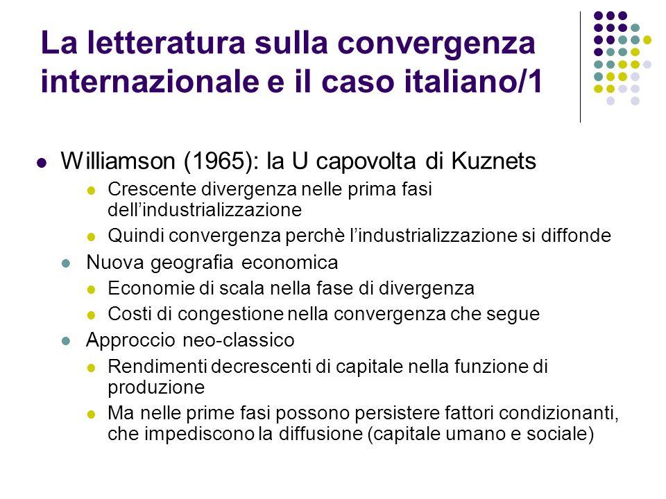La letteratura sulla convergenza internazionale e il caso italiano/1 Williamson (1965): la U capovolta di Kuznets Crescente divergenza nelle prima fas