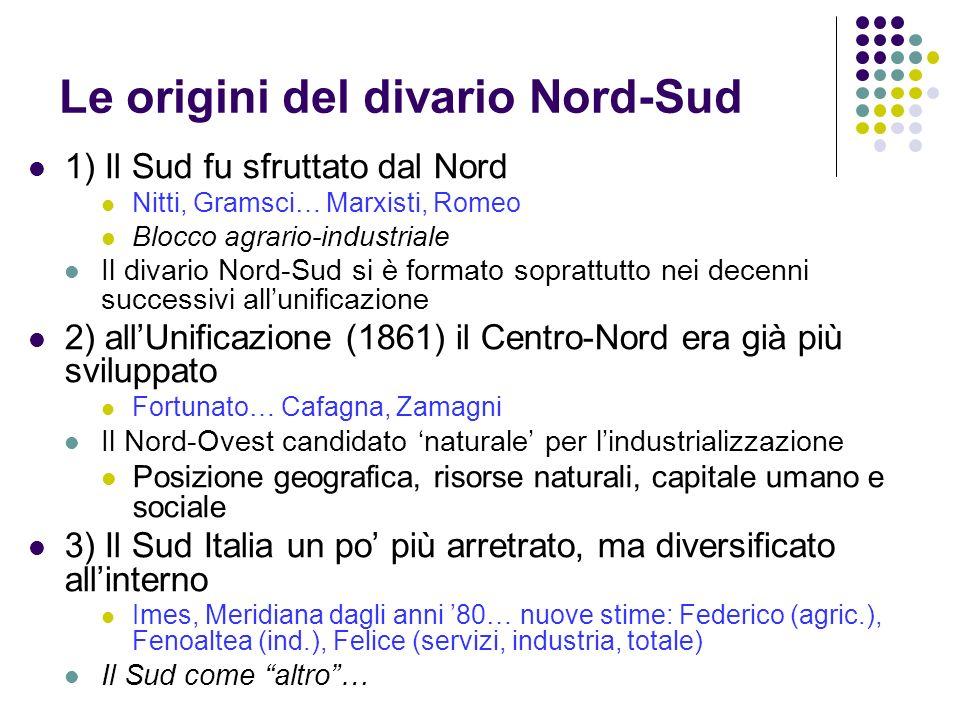 Le origini del divario Nord-Sud 1) Il Sud fu sfruttato dal Nord Nitti, Gramsci… Marxisti, Romeo Blocco agrario-industriale Il divario Nord-Sud si è fo