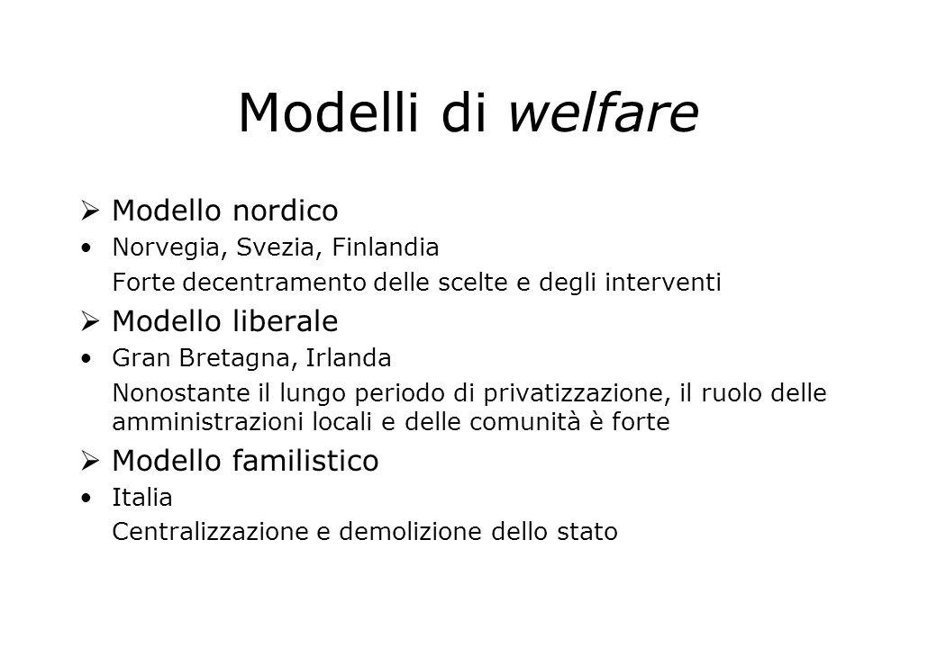 Modelli di welfare Modello nordico Norvegia, Svezia, Finlandia Forte decentramento delle scelte e degli interventi Modello liberale Gran Bretagna, Irl