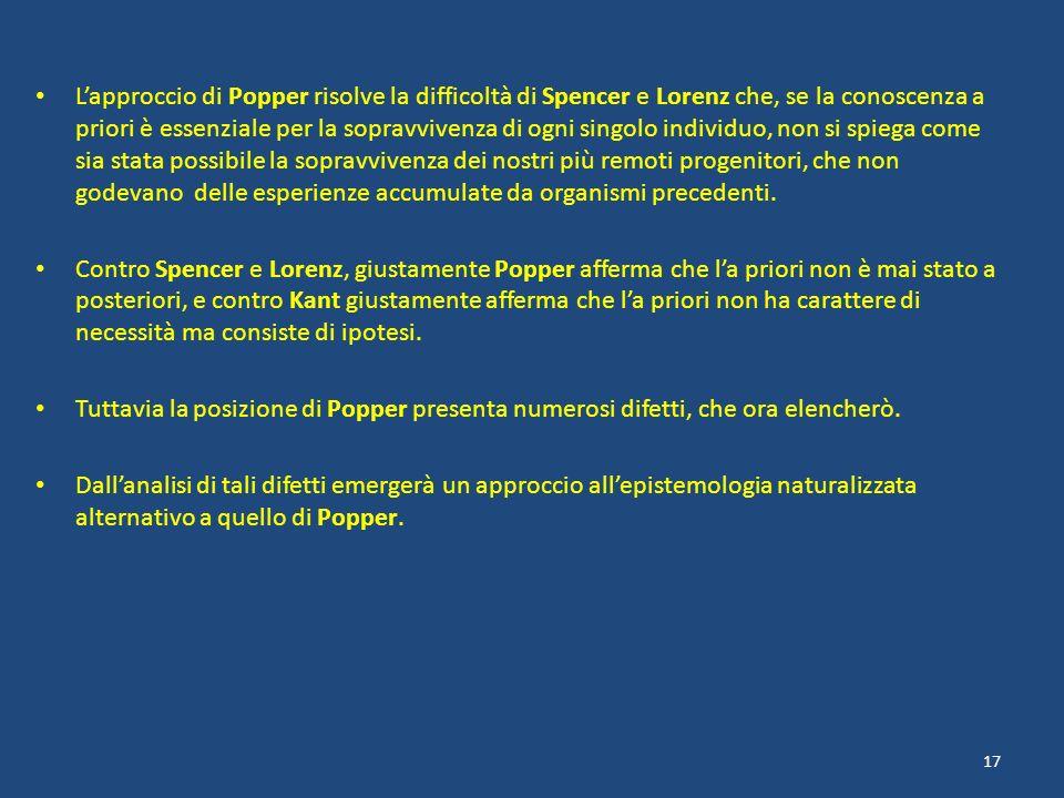 Lapproccio di Popper risolve la difficoltà di Spencer e Lorenz che, se la conoscenza a priori è essenziale per la sopravvivenza di ogni singolo indivi