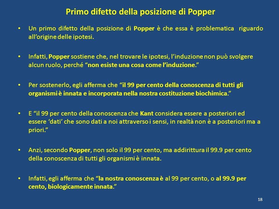 Primo difetto della posizione di Popper Un primo difetto della posizione di Popper è che essa è problematica riguardo allorigine delle ipotesi. Infatt