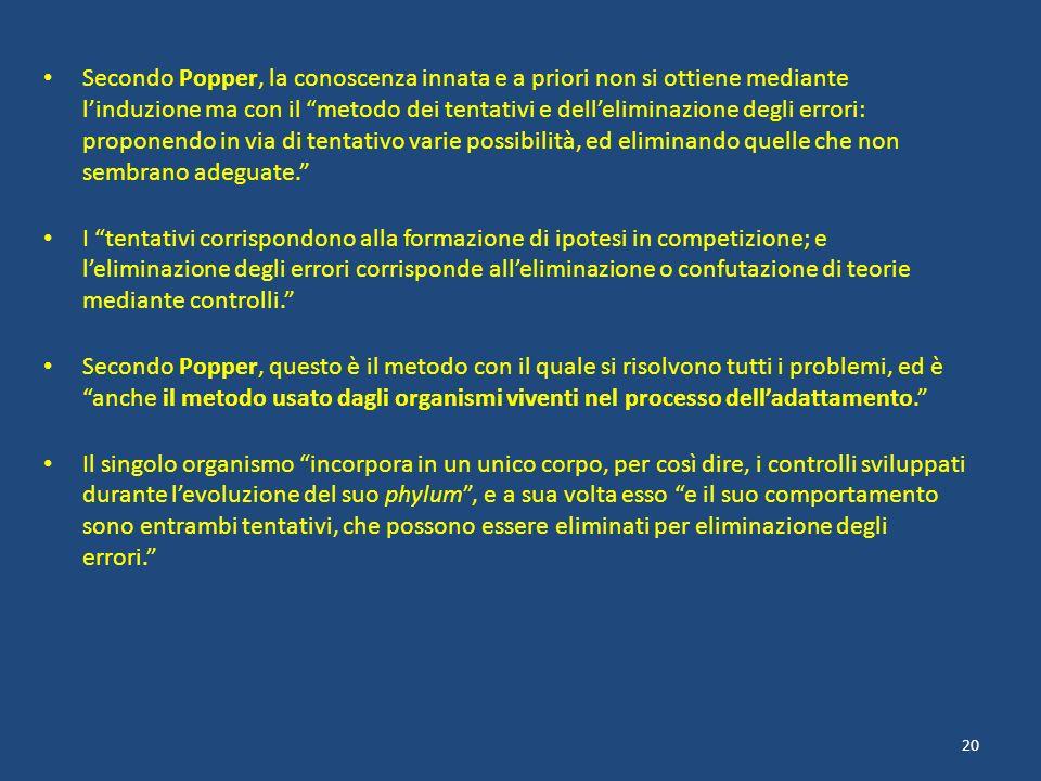 Secondo Popper, la conoscenza innata e a priori non si ottiene mediante linduzione ma con il metodo dei tentativi e delleliminazione degli errori: pro
