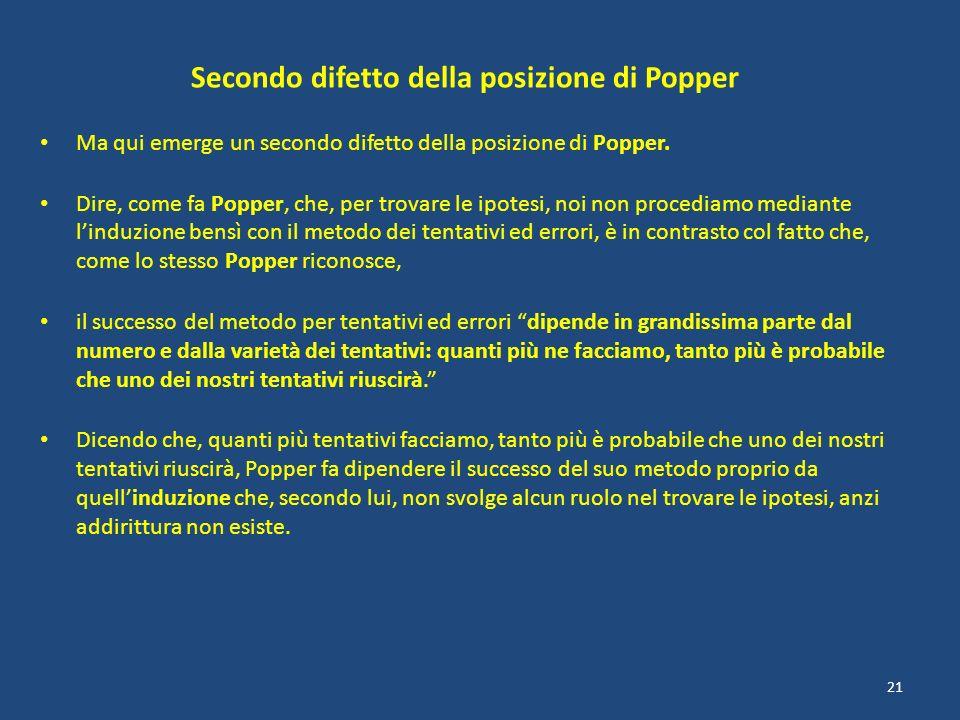Secondo difetto della posizione di Popper Ma qui emerge un secondo difetto della posizione di Popper. Dire, come fa Popper, che, per trovare le ipotes