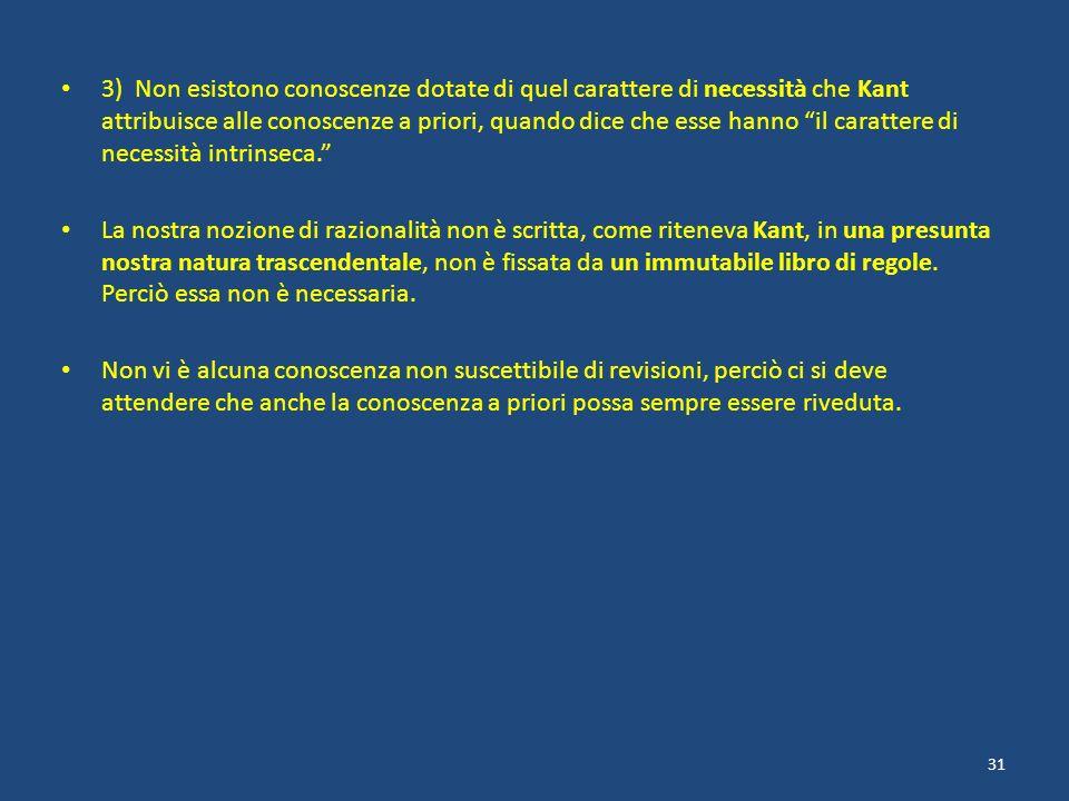 3) Non esistono conoscenze dotate di quel carattere di necessità che Kant attribuisce alle conoscenze a priori, quando dice che esse hanno il caratter