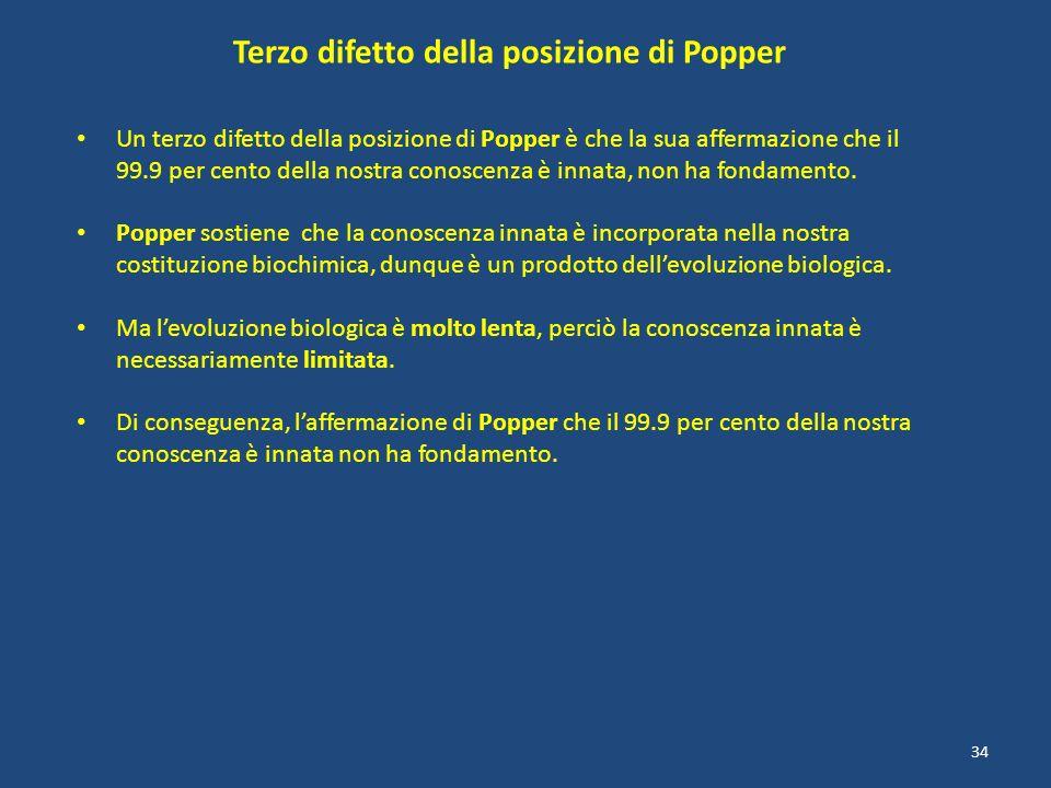 Terzo difetto della posizione di Popper Un terzo difetto della posizione di Popper è che la sua affermazione che il 99.9 per cento della nostra conosc