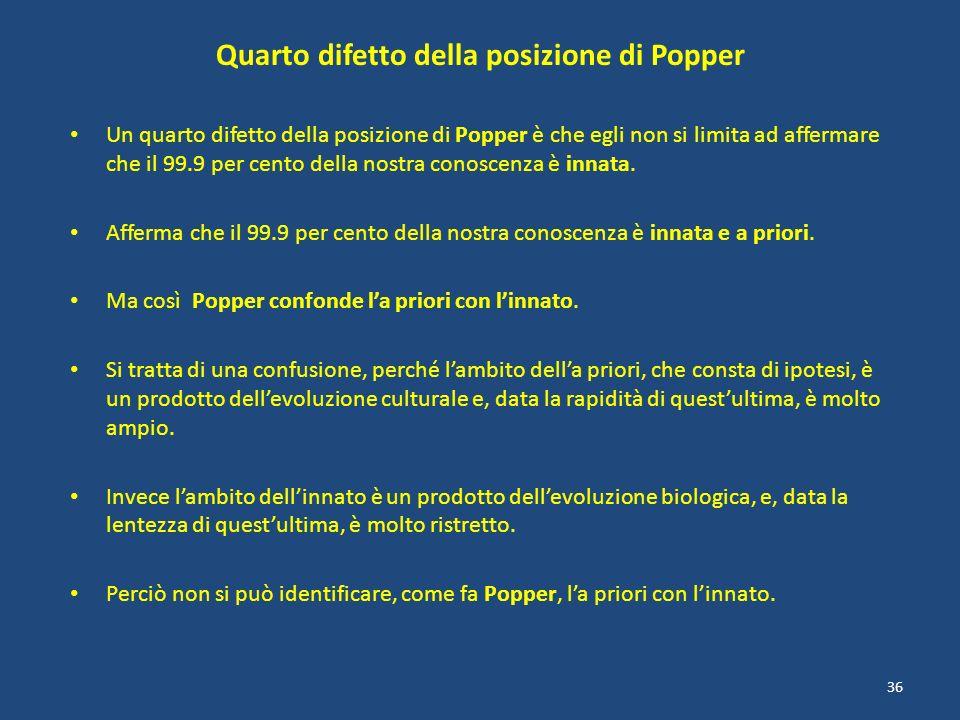 Quarto difetto della posizione di Popper Un quarto difetto della posizione di Popper è che egli non si limita ad affermare che il 99.9 per cento della
