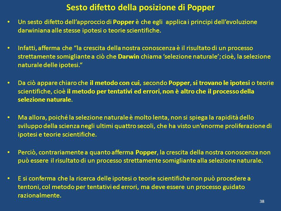Sesto difetto della posizione di Popper Un sesto difetto dellapproccio di Popper è che egli applica i principi dellevoluzione darwiniana alle stesse i