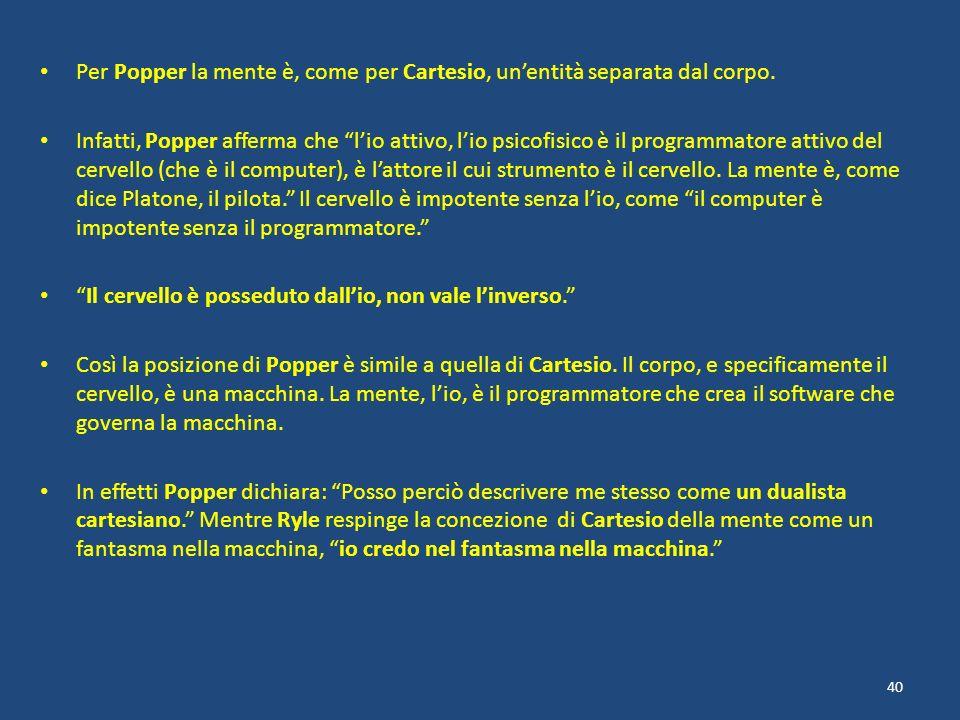 Per Popper la mente è, come per Cartesio, unentità separata dal corpo. Infatti, Popper afferma che lio attivo, lio psicofisico è il programmatore atti