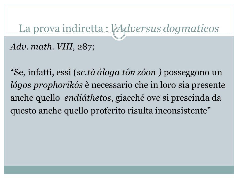 La prova diretta: gli Schizzi pirroniani Il Lógos endiáthetos (secondo gli Stoici) consiste in: 1.