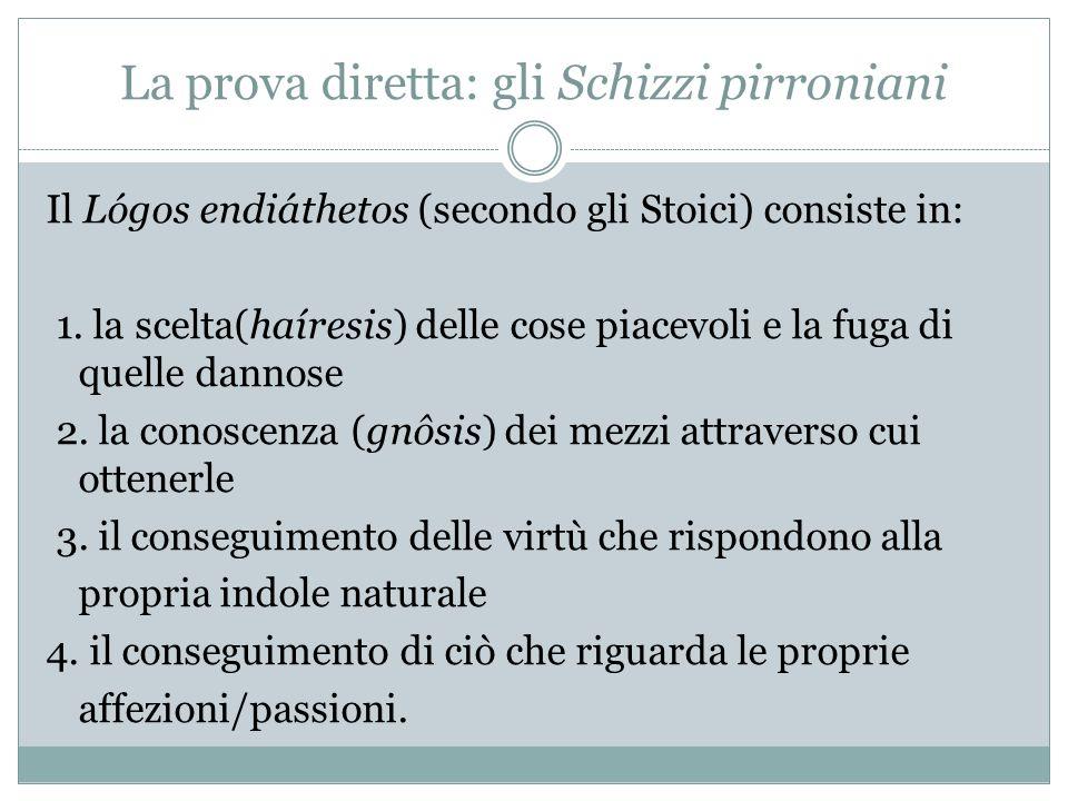 La prova diretta: gli Schizzi pirroniani Il Lógos endiáthetos (secondo gli Stoici) consiste in: 1. la scelta(haíresis) delle cose piacevoli e la fuga