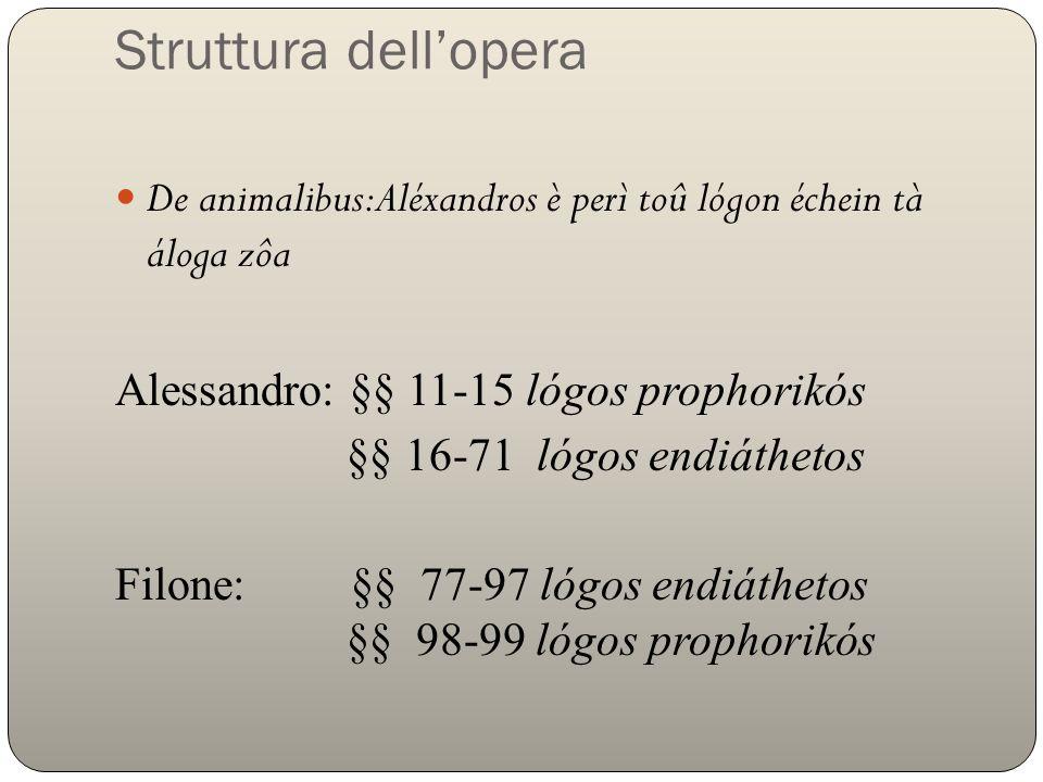 Struttura dellopera De animalibus:Aléxandros è perì toû lógon échein tà áloga zôa Alessandro: §§ 11-15 lógos prophorikós §§ 16-71 lógos endiáthetos Fi