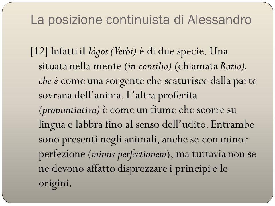 La posizione continuista di Alessandro [12] Infatti il lógos (Verbi) è di due specie. Una situata nella mente (in consilio) (chiamata Ratio), che è co