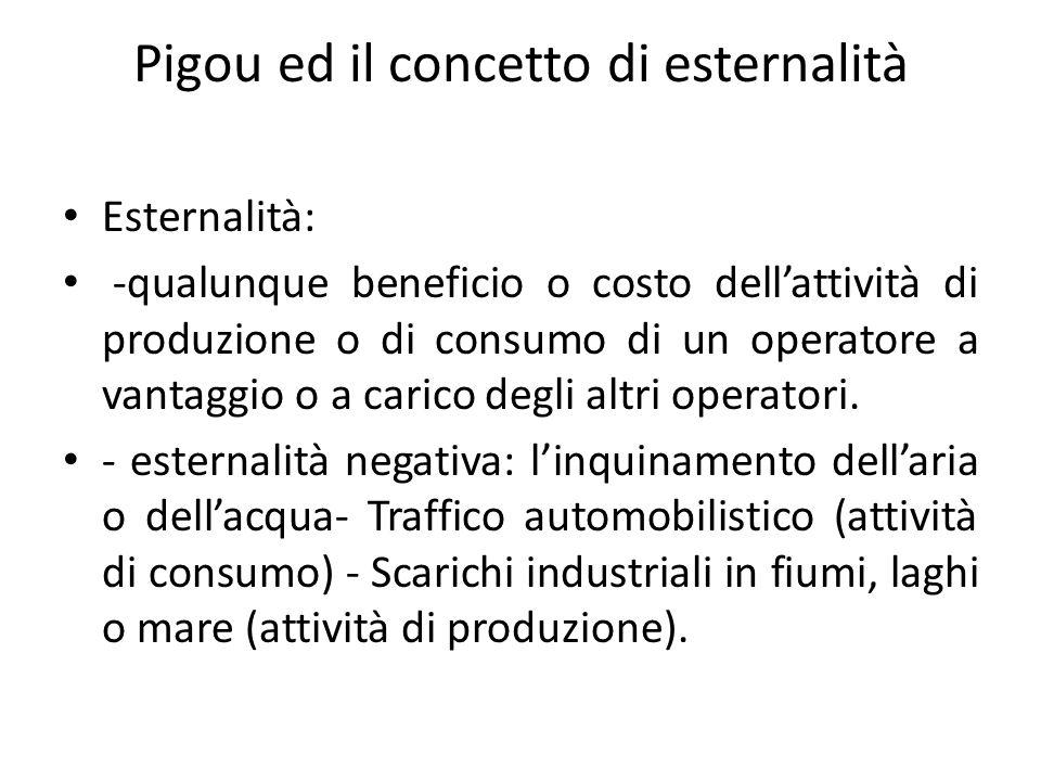 Pigou ed il concetto di esternalità Esternalità: -qualunque beneficio o costo dellattività di produzione o di consumo di un operatore a vantaggio o a carico degli altri operatori.