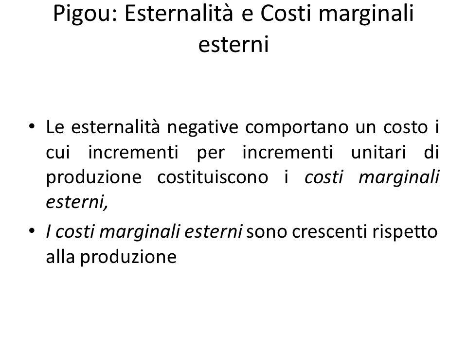 Pigou: Esternalità e Costi marginali esterni Le esternalità negative comportano un costo i cui incrementi per incrementi unitari di produzione costituiscono i costi marginali esterni, I costi marginali esterni sono crescenti rispetto alla produzione