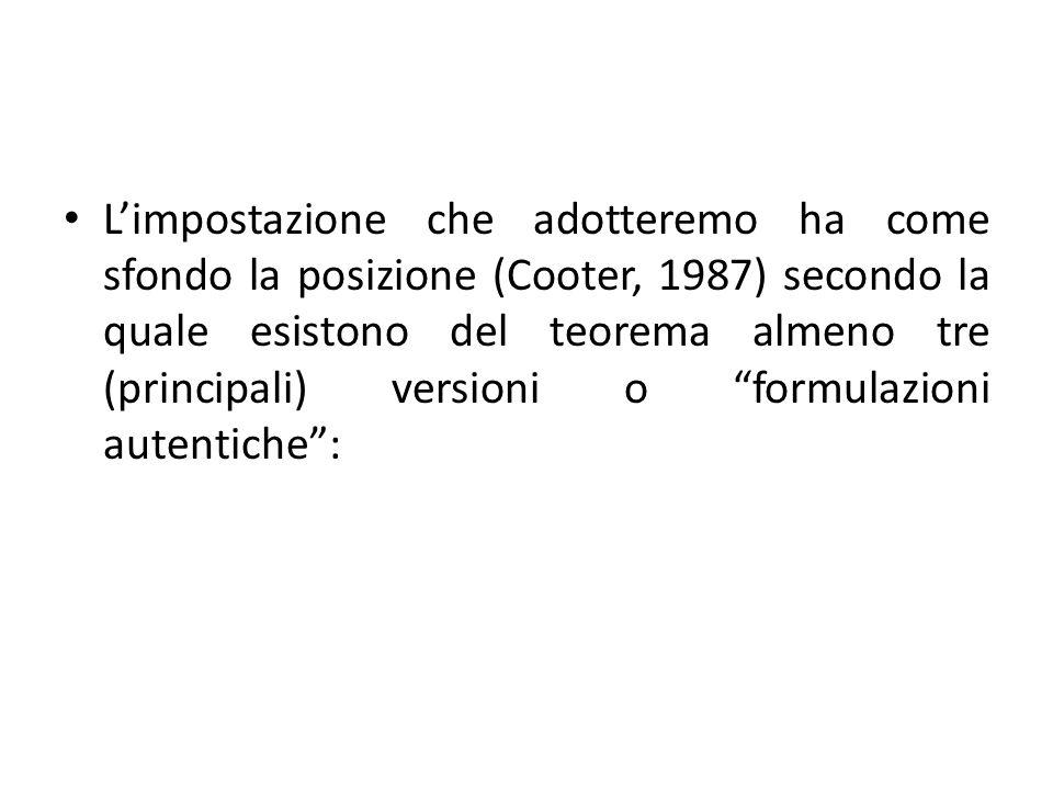 Limpostazione che adotteremo ha come sfondo la posizione (Cooter, 1987) secondo la quale esistono del teorema almeno tre (principali) versioni o formu